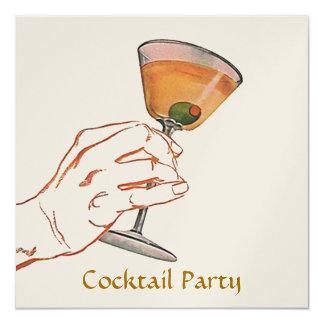Retro Art-Martini-Party-Bar-Einladungs-Cocktail Quadratische 13,3 Cm Einladungskarte