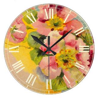 Retro Art-Vintage mit Blumenküche Große Wanduhr