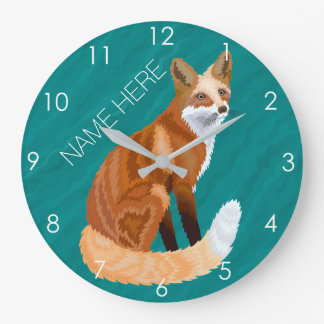 Retro Art-Waldtierthema roten Fox aquamarin Große Wanduhr