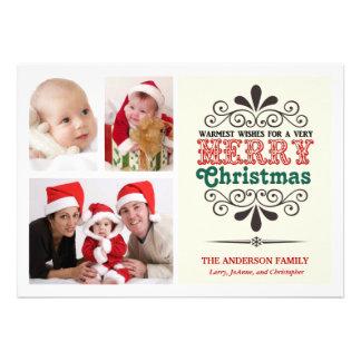 Retro Art Weihnachtenc tri Foto flache Karte Ankündigungskarte