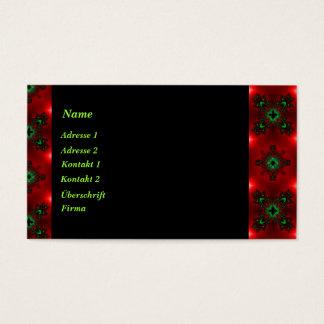 Retro-Artdeco Blumen in grün blau schwarz auf rot Visitenkarte