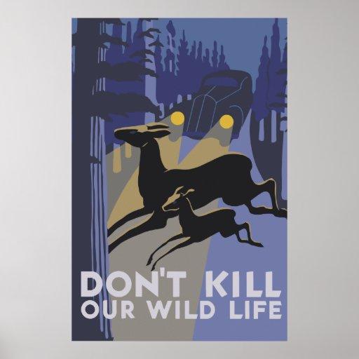 Retro Artvektorkunst töten nicht unser wildes Lebe Posterdruck