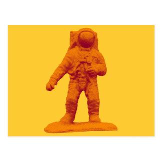 Retro Astronauten-Figürchen Postkarte