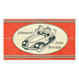 Retro Auto-Service und Reparatur Visitenkartenvorlagen