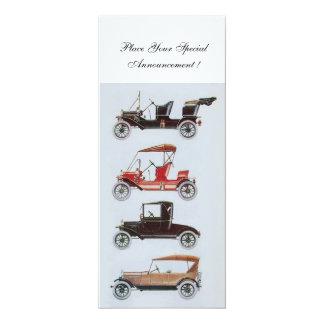RETRO AUTOS 2, AUTO-WIEDERHERSTELLUNG, blaues Weiß 10,2 X 23,5 Cm Einladungskarte