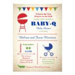 Retro Baby-q Babyparty-Einladung
