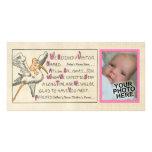 Retro Baby-u. Storch-Eltern-Geburts-Mitteilung Photo Karte
