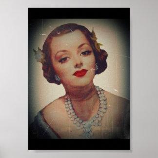 Retro bezaubernder Mädchen-Lippenstift Poster