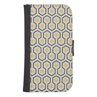 Retro Bienenwaben-Muster-Bienenstock Phone Geldbeutel