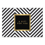 Retro Black and White Pattern Glam Gold Gift Cert Personalized Invitation
