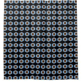 Retro-Blau-Schwarz-Stilvoll-Mod-Bad-Dekor Duschvorhang