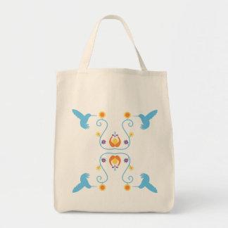Retro blaue Kolibris und Blumen Tragetasche