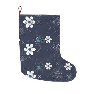 Retro blaue weiße Aqua-Blume des Großer Weihnachtsstrumpf