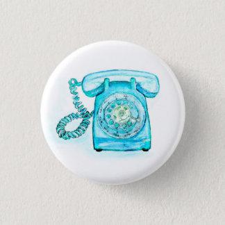 Retro blauer Drehtelefon-Knopf-Button-Türkis Runder Button 3,2 Cm