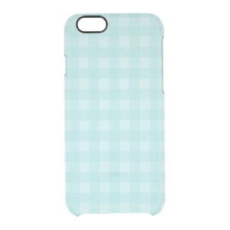 Retro blauer Gingham-karierter Muster-Hintergrund Durchsichtige iPhone 6/6S Hülle