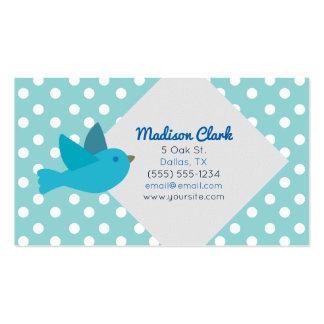 Retro blauer Vogel mit Tupfen-Visitenkarten Visitenkarten