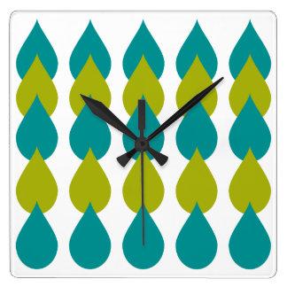 Retro blaues Grün Quadratische Wanduhr