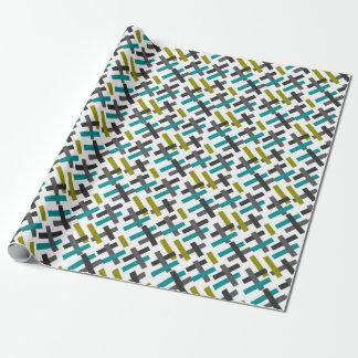Retro blaues, grünes, graues abstraktes geschenkpapier