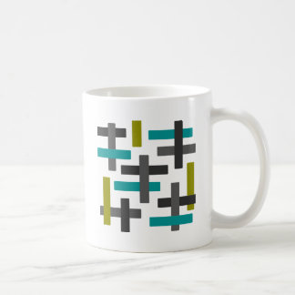 Retro blaues, grünes, graues abstraktes kaffeetasse