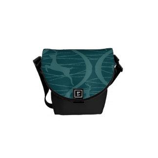 Retro blaues Ren-Muster-WeihnachtsFeriengeschenk Kurier Tasche