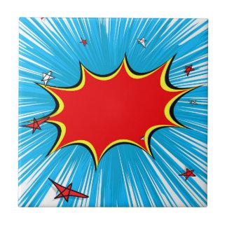 Retro Blaues u. Rot hat Comic-Explosion in der Fliese
