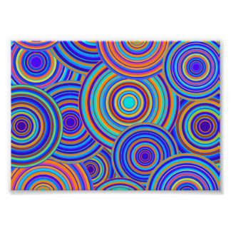 Retro blaues und orange Kreis-Muster Fotodruck