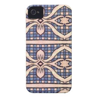 RETRO BLAUES UND WEISSES PAISLEY iPhone 4 ETUIS