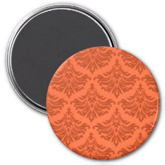 Retro blühen Sie Orange Runder Magnet 7,6 Cm