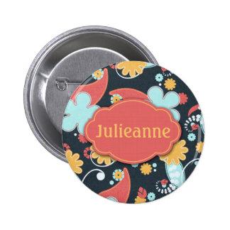 Retro Blumen - addieren Sie einen Namen - Runder Button 5,1 Cm