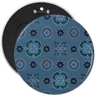 Retro Blumen-Blau-Knopf Runder Button 15,3 Cm