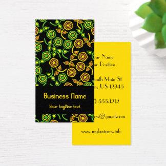 Retro Blumen in der Pistazie und in der Orange Visitenkarte