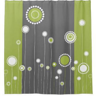 Retro Blumen-Muster-Grün Duschvorhang
