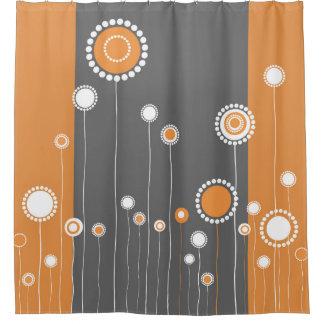 Retro Blumen-Muster-Orange Duschvorhang