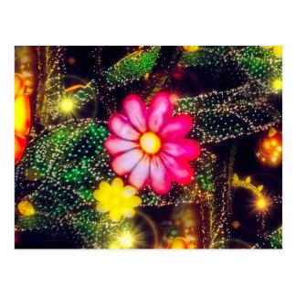 Retro Blumen-Neonlichter Postkarte