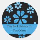 Retro Blumen-personalisierte Buchzeichen: Blau Runder Aufkleber