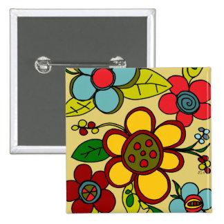 Retro Blumen-städtische Farben Quadratischer Button 5,1 Cm