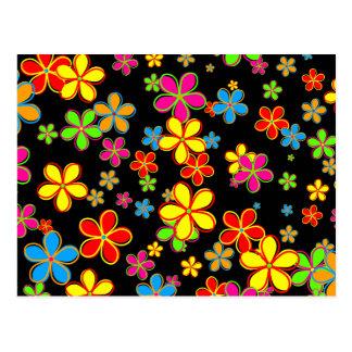 Retro Blumen-Tapete Postkarte