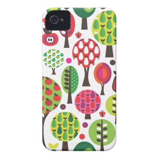 Retro Blumenapfel-Schmetterlingsmuster iphone Fall iPhone 4 Cover