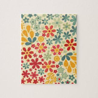 Retro.  Blumenmotive Puzzle