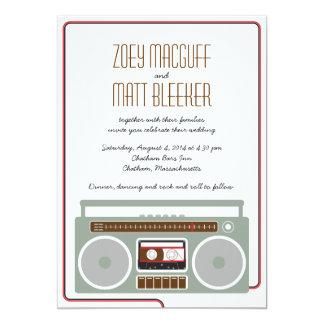 Retro Boombox Indie Mixtape Wedding Rot/Schwarzes 12,7 X 17,8 Cm Einladungskarte