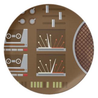 Retro Boombox Platte - Brown Melaminteller