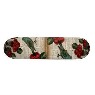 Retro botanische rote Kirsche des französischen 19,7 Cm Skateboard Deck