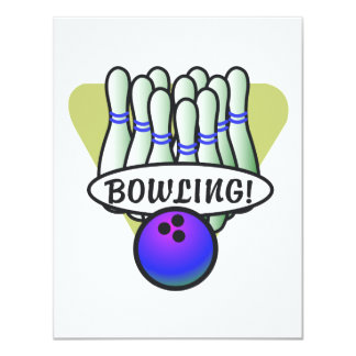 retro Bowlingsentwurf Karte