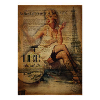 retro Brautparty Eiffel-Turmparis-Mädchens Ankündigungskarte