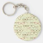 Retro Brillen-Hipster Standard Runder Schlüsselanhänger