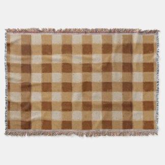 Retro Brown-Gingham-Afghane Decke