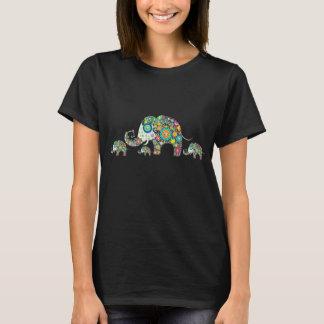 Retro bunte Blumen-Elefant-Familie T-Shirt