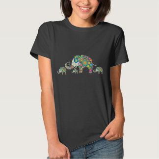 Retro bunte Blumen-Elefant-Familie T Shirts