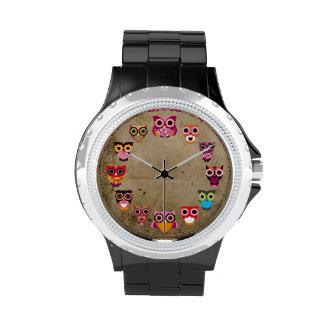 Retro bunte Eule Armbanduhr
