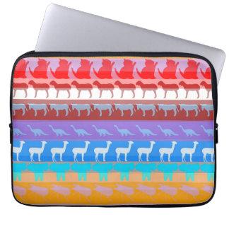 Retro bunte Tier-modernes Streifen-Muster #2 Laptopschutzhülle